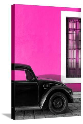 ?Viva Mexico! Collection - Black VW Beetle with Pink Street Wall-Philippe Hugonnard-Stretched Canvas Print