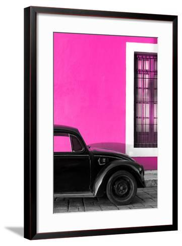 ?Viva Mexico! Collection - Black VW Beetle with Pink Street Wall-Philippe Hugonnard-Framed Art Print