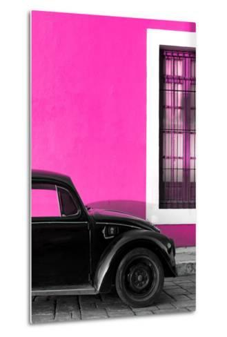 ?Viva Mexico! Collection - Black VW Beetle with Pink Street Wall-Philippe Hugonnard-Metal Print