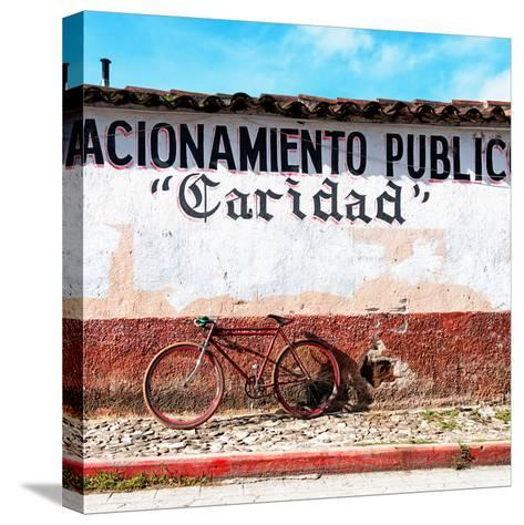 "¡Viva Mexico! Square Collection - ""Caridad"" Red Bike-Philippe Hugonnard-Stretched Canvas Print"