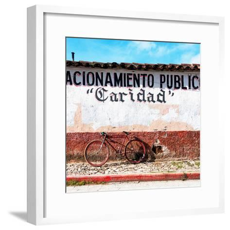 "¡Viva Mexico! Square Collection - ""Caridad"" Red Bike-Philippe Hugonnard-Framed Art Print"