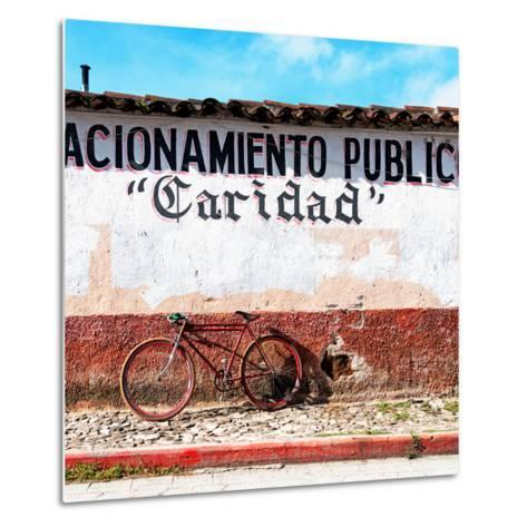 "¡Viva Mexico! Square Collection - ""Caridad"" Red Bike-Philippe Hugonnard-Metal Print"