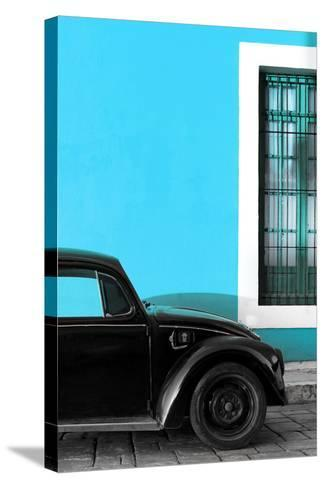 ¡Viva Mexico! Collection - Black VW Beetle with Blue Street Wall-Philippe Hugonnard-Stretched Canvas Print