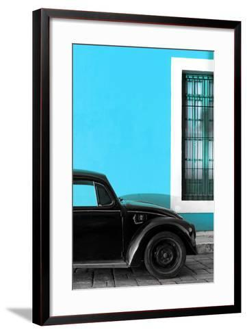 ¡Viva Mexico! Collection - Black VW Beetle with Blue Street Wall-Philippe Hugonnard-Framed Art Print