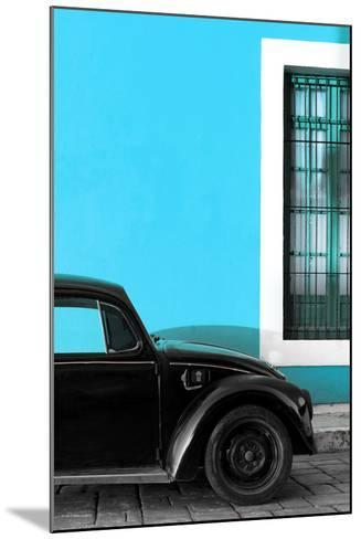 ¡Viva Mexico! Collection - Black VW Beetle with Blue Street Wall-Philippe Hugonnard-Mounted Photographic Print