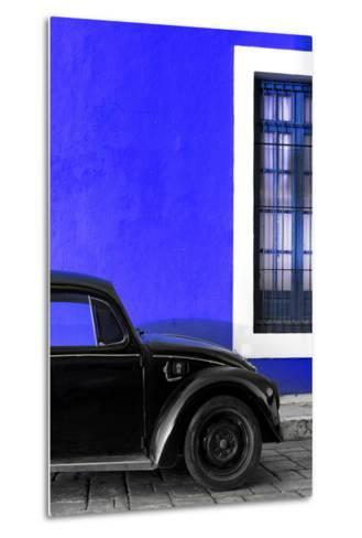 ¡Viva Mexico! Collection - Black VW Beetle with Royal Blue Street Wall-Philippe Hugonnard-Metal Print