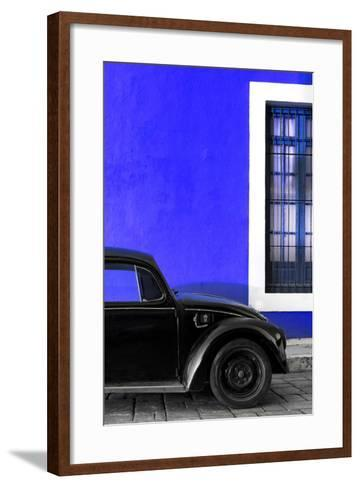 ¡Viva Mexico! Collection - Black VW Beetle with Royal Blue Street Wall-Philippe Hugonnard-Framed Art Print