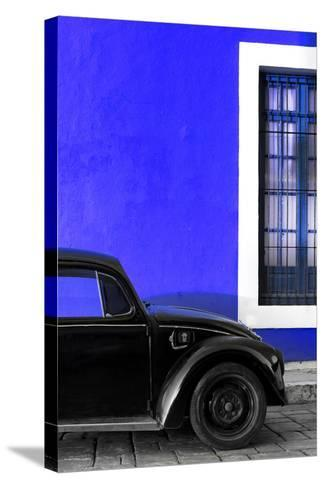 ¡Viva Mexico! Collection - Black VW Beetle with Royal Blue Street Wall-Philippe Hugonnard-Stretched Canvas Print
