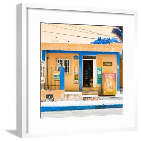 "¡Viva Mexico! Square Collection - ""La Esquina"" Orange Supermarket - Cancun-Philippe Hugonnard-Framed Art Print"