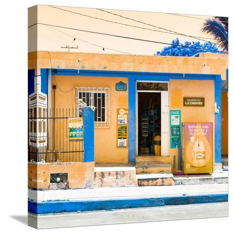 "¡Viva Mexico! Square Collection - ""La Esquina"" Orange Supermarket - Cancun-Philippe Hugonnard-Stretched Canvas Print"