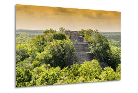 ¡Viva Mexico! Collection - Pyramid in Mayan City at Sunset of Calakmul-Philippe Hugonnard-Metal Print