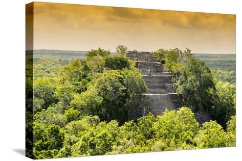 ¡Viva Mexico! Collection - Pyramid in Mayan City at Sunset of Calakmul-Philippe Hugonnard-Stretched Canvas Print