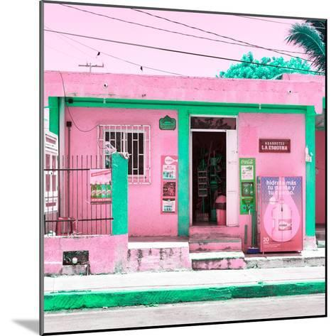 """¡Viva Mexico! Square Collection - """"La Esquina"""" Pink Supermarket - Cancun-Philippe Hugonnard-Mounted Photographic Print"""