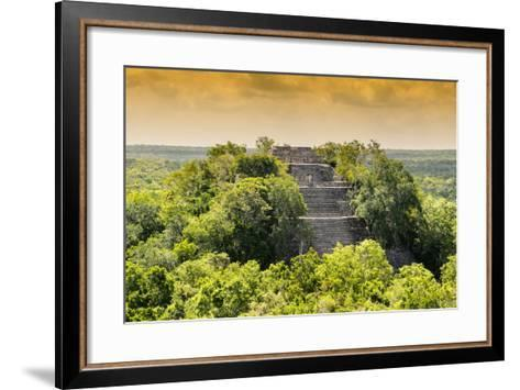¡Viva Mexico! Collection - Pyramid in Mayan City at Sunset of Calakmul-Philippe Hugonnard-Framed Art Print