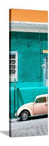 ¡Viva Mexico! Panoramic Collection - VW Beetle Car and Turquoise Wall-Philippe Hugonnard-Stretched Canvas Print