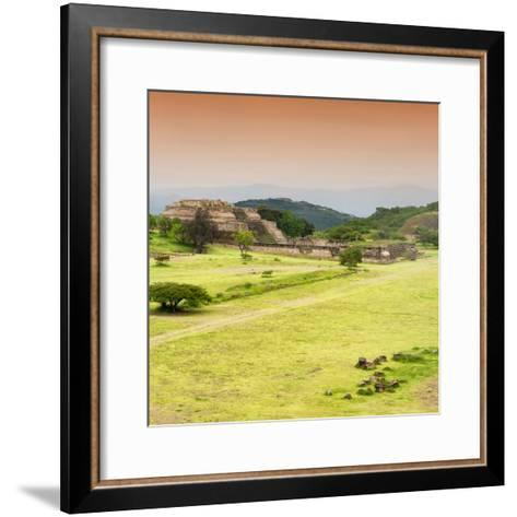 ¡Viva Mexico! Square Collection - Ruins of Monte Alban at Sunset III-Philippe Hugonnard-Framed Art Print