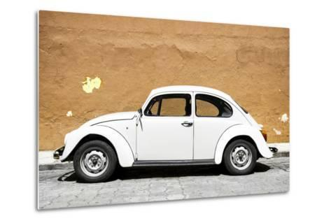 ¡Viva Mexico! Collection - White VW Beetle Car and Caramel Street Wall-Philippe Hugonnard-Metal Print