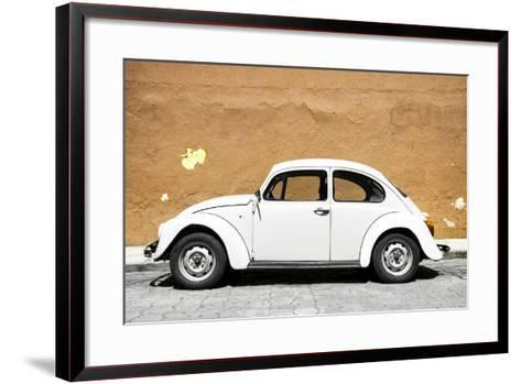 ¡Viva Mexico! Collection - White VW Beetle Car and Caramel Street Wall-Philippe Hugonnard-Framed Art Print