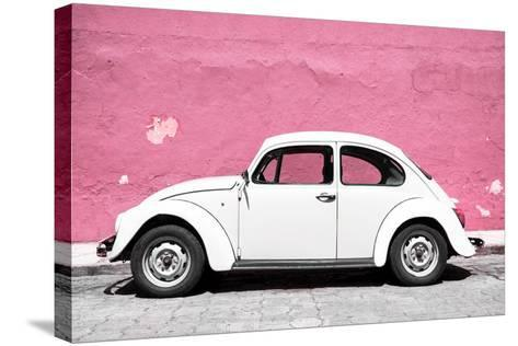 ?Viva Mexico! Collection - White VW Beetle Car and Light Pink Street Wall-Philippe Hugonnard-Stretched Canvas Print