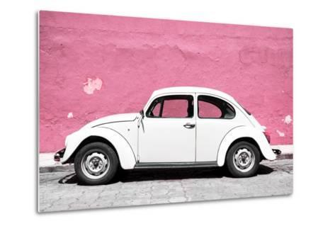 ?Viva Mexico! Collection - White VW Beetle Car and Light Pink Street Wall-Philippe Hugonnard-Metal Print