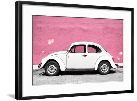 ?Viva Mexico! Collection - White VW Beetle Car and Light Pink Street Wall-Philippe Hugonnard-Framed Art Print