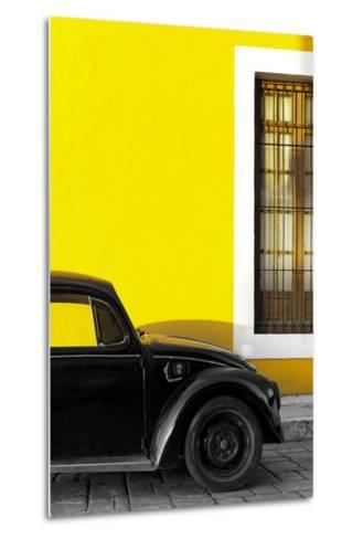 ¡Viva Mexico! Collection - Black VW Beetle with Yellow Street Wall-Philippe Hugonnard-Metal Print