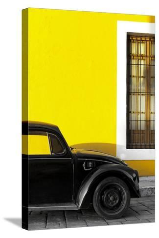 ¡Viva Mexico! Collection - Black VW Beetle with Yellow Street Wall-Philippe Hugonnard-Stretched Canvas Print