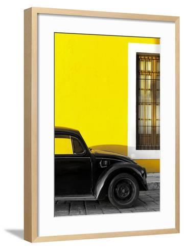 ¡Viva Mexico! Collection - Black VW Beetle with Yellow Street Wall-Philippe Hugonnard-Framed Art Print