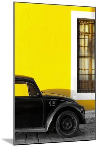¡Viva Mexico! Collection - Black VW Beetle with Yellow Street Wall-Philippe Hugonnard-Mounted Photographic Print