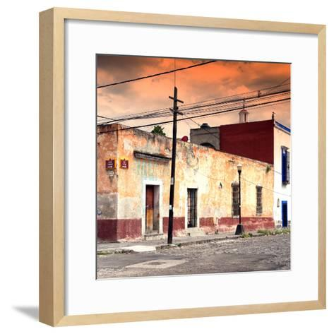 ¡Viva Mexico! Square Collection - Mexican Street at Sunset-Philippe Hugonnard-Framed Art Print