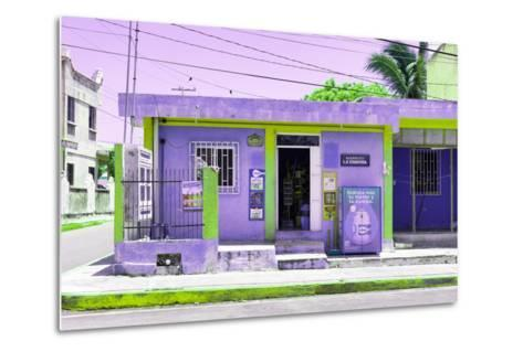 "¡Viva Mexico! Collection - ""La Esquina"" Purple Supermarket - Cancun-Philippe Hugonnard-Metal Print"