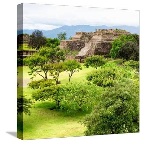 ¡Viva Mexico! Square Collection - Pyramid Maya of Monte Alban IV-Philippe Hugonnard-Stretched Canvas Print