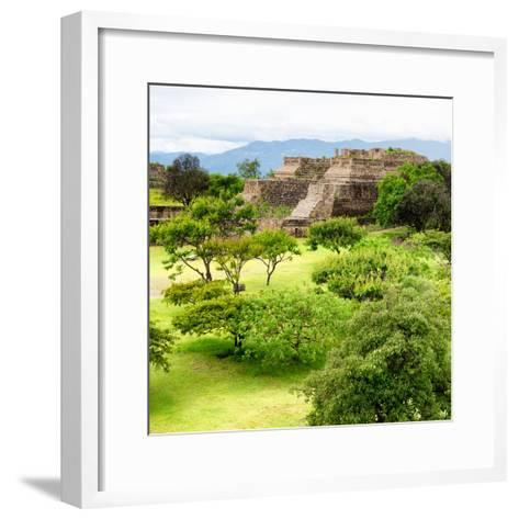 ¡Viva Mexico! Square Collection - Pyramid Maya of Monte Alban IV-Philippe Hugonnard-Framed Art Print