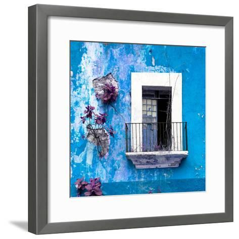 ¡Viva Mexico! Square Collection - Old Blue Facade-Philippe Hugonnard-Framed Art Print