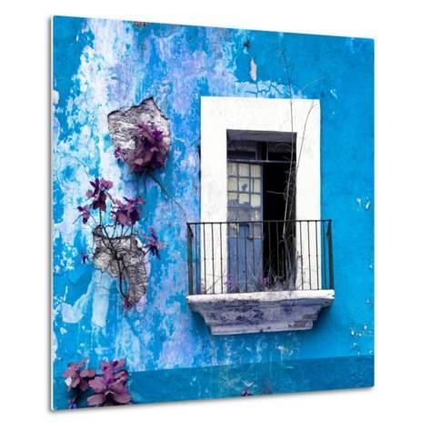 ¡Viva Mexico! Square Collection - Old Blue Facade-Philippe Hugonnard-Metal Print