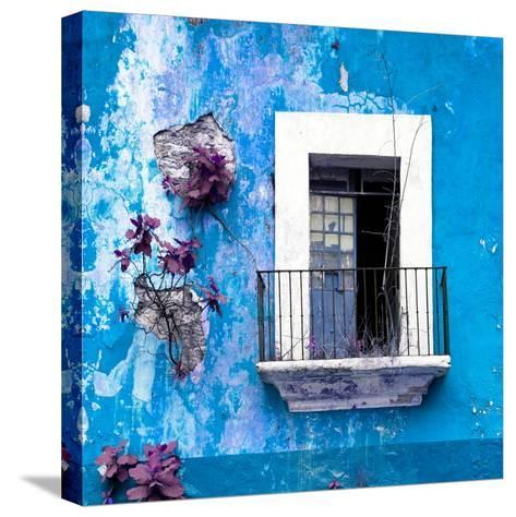 ¡Viva Mexico! Square Collection - Old Blue Facade-Philippe Hugonnard-Stretched Canvas Print