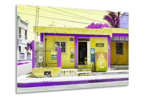 "¡Viva Mexico! Collection - ""La Esquina"" Yellow Supermarket - Cancun-Philippe Hugonnard-Metal Print"