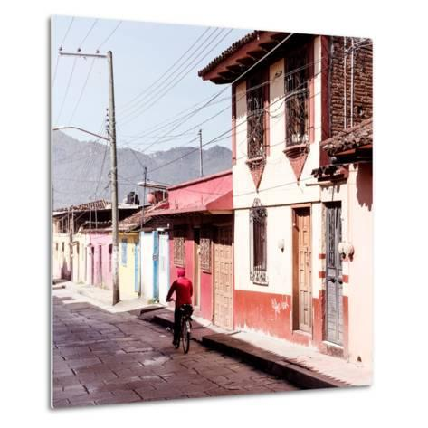 ¡Viva Mexico! Square Collection - Red Cyclist in the street of San Cristobal III-Philippe Hugonnard-Metal Print