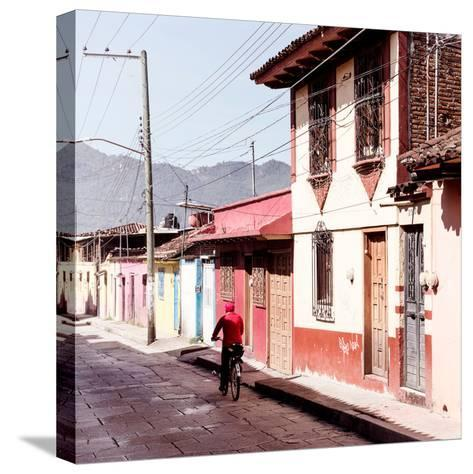 ¡Viva Mexico! Square Collection - Red Cyclist in the street of San Cristobal III-Philippe Hugonnard-Stretched Canvas Print
