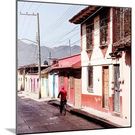¡Viva Mexico! Square Collection - Red Cyclist in the street of San Cristobal III-Philippe Hugonnard-Mounted Photographic Print