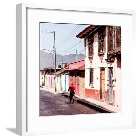 ¡Viva Mexico! Square Collection - Red Cyclist in the street of San Cristobal III-Philippe Hugonnard-Framed Art Print