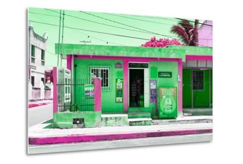 "¡Viva Mexico! Collection - ""La Esquina"" Green Supermarket - Cancun-Philippe Hugonnard-Metal Print"