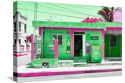 "¡Viva Mexico! Collection - ""La Esquina"" Green Supermarket - Cancun-Philippe Hugonnard-Stretched Canvas Print"
