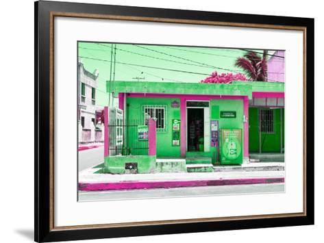 "¡Viva Mexico! Collection - ""La Esquina"" Green Supermarket - Cancun-Philippe Hugonnard-Framed Art Print"