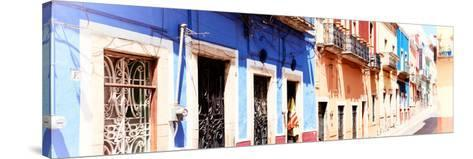 ¡Viva Mexico! Panoramic Collection - Facades of Colors in Guanajuato II-Philippe Hugonnard-Stretched Canvas Print