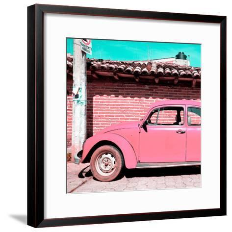 ¡Viva Mexico! Square Collection - Pink VW Beetle Car-Philippe Hugonnard-Framed Art Print