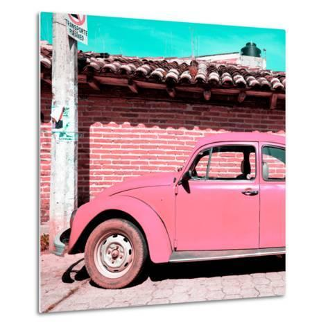 ¡Viva Mexico! Square Collection - Pink VW Beetle Car-Philippe Hugonnard-Metal Print