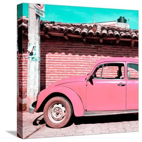 ¡Viva Mexico! Square Collection - Pink VW Beetle Car-Philippe Hugonnard-Stretched Canvas Print