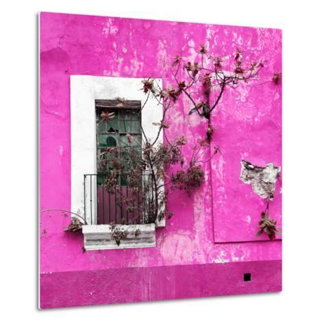 ¡Viva Mexico! Square Collection - Old Deep Pink Facade II-Philippe Hugonnard-Metal Print