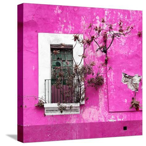 ¡Viva Mexico! Square Collection - Old Deep Pink Facade II-Philippe Hugonnard-Stretched Canvas Print
